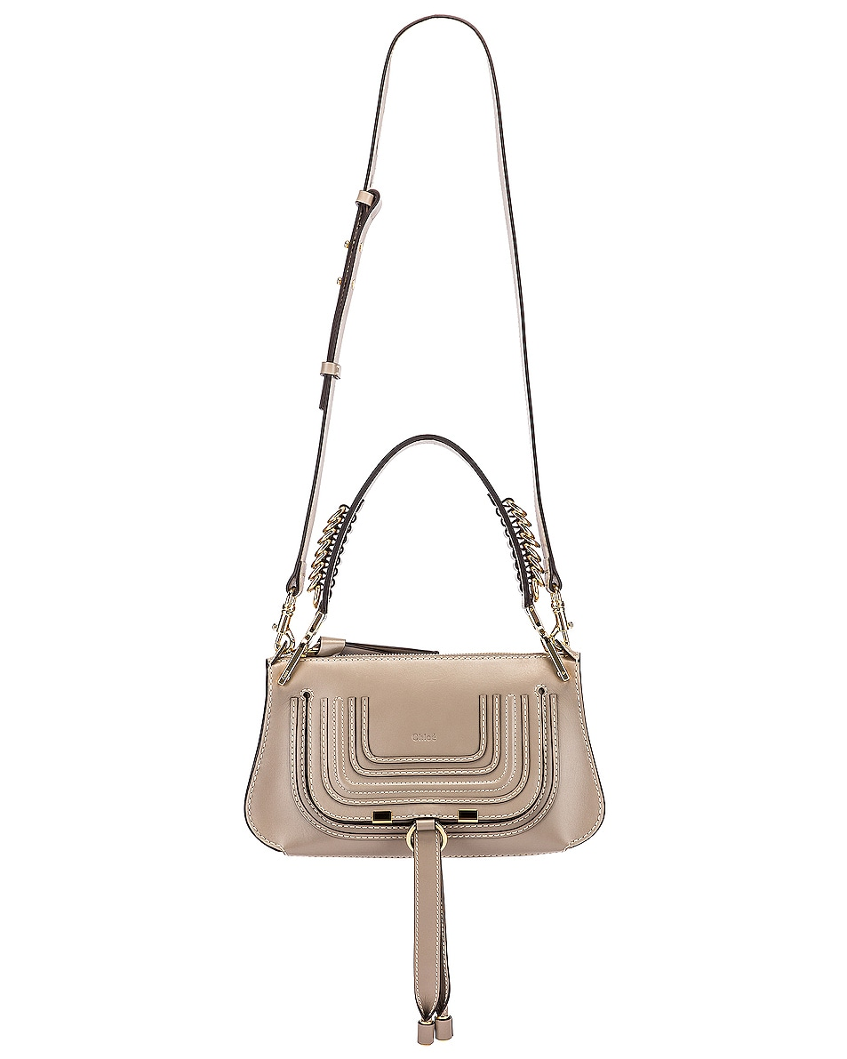 Image 6 of Chloe Small Marcie Leather Saddle Bag in Motty Grey
