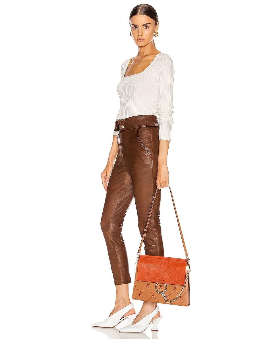 Image 2 of Chloe Medium Faye Perforated Horses Shoulder Bag in Caramel