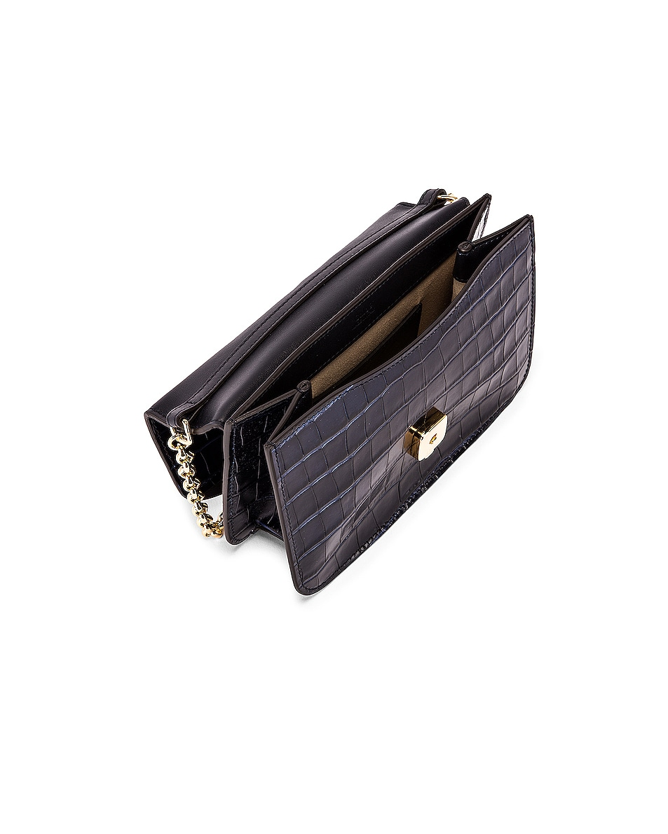 Image 5 of Chloe C Embossed Croco Clutch Bag in Full Blue