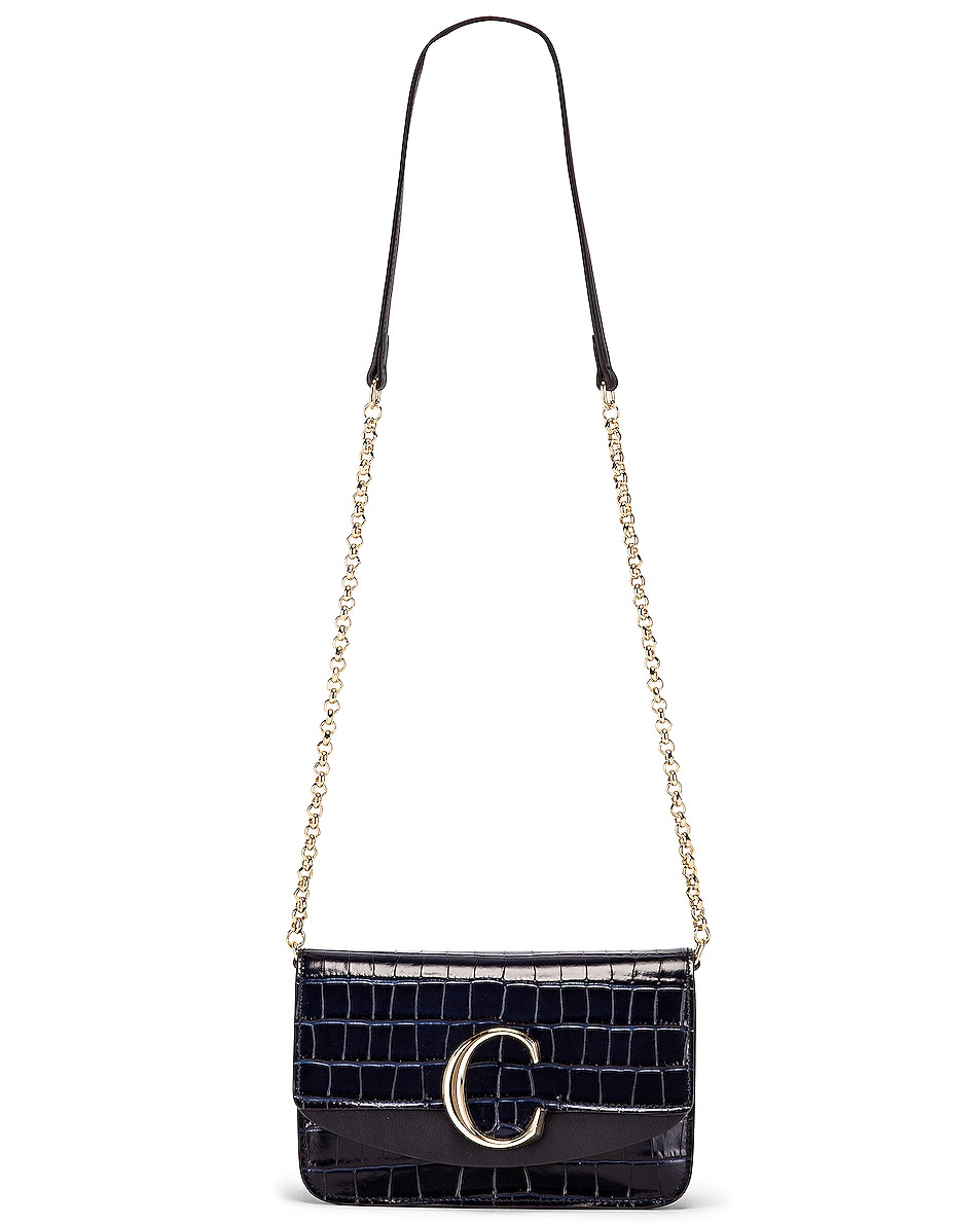 Image 6 of Chloe C Embossed Croco Clutch Bag in Full Blue