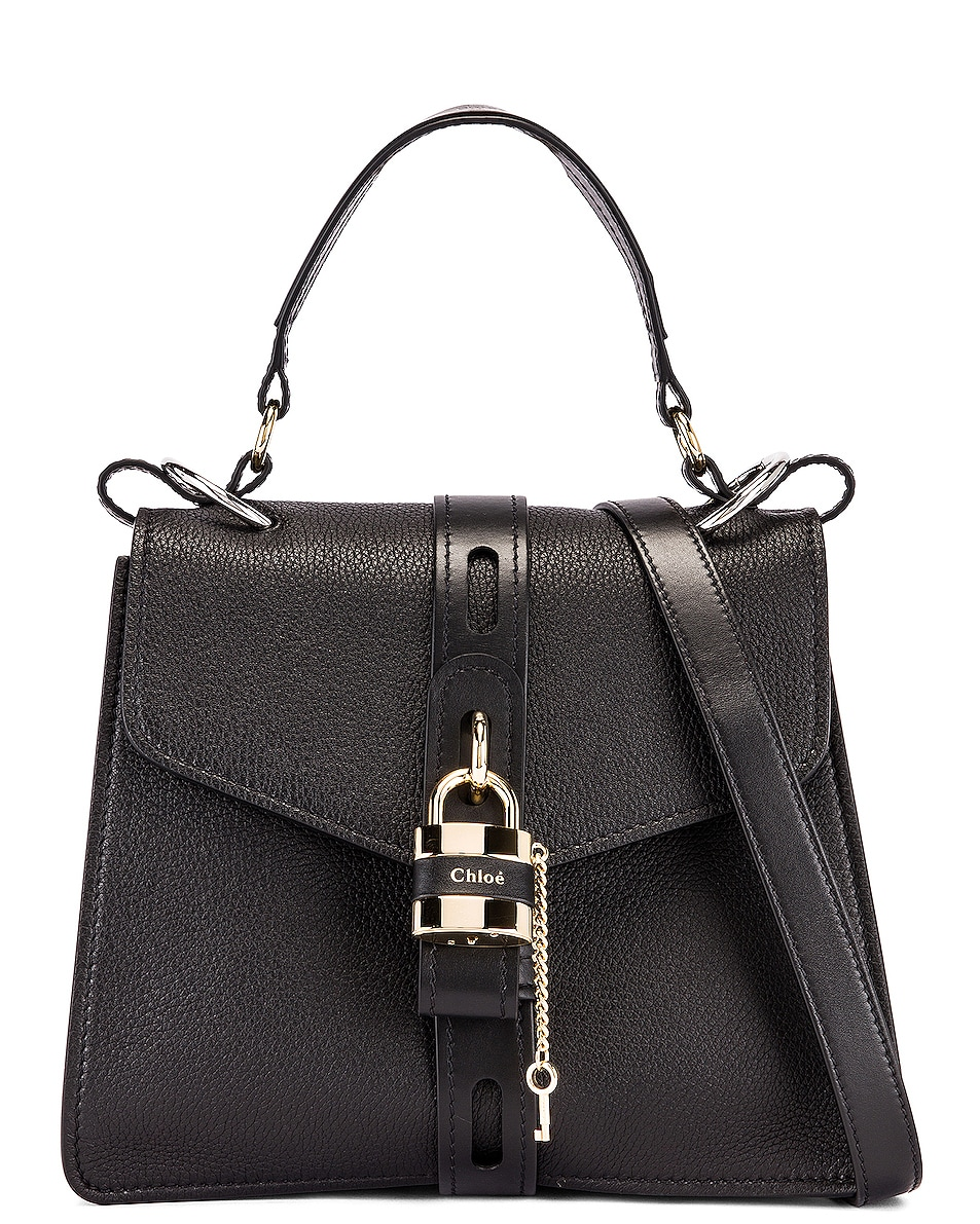 Image 1 of Chloe Medium Aby Leather Bag in Black