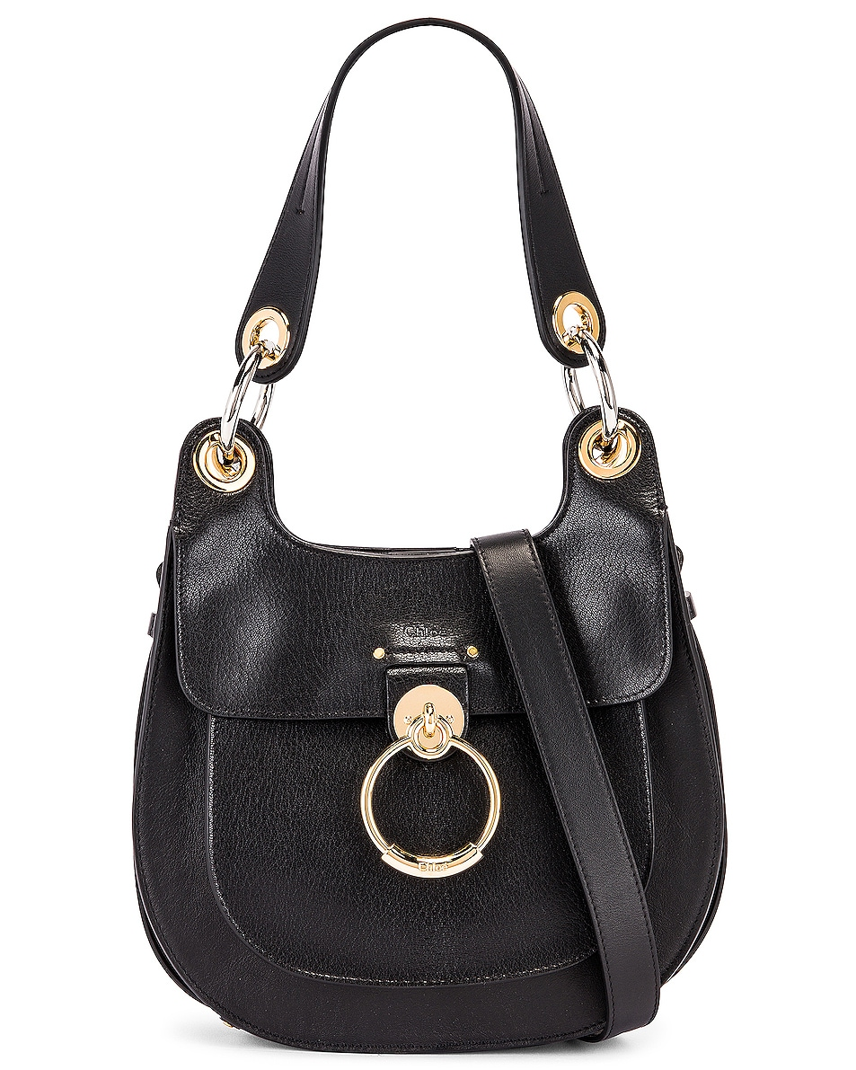 Image 1 of Chloe Small Tess Leather Hobo Bag in Black
