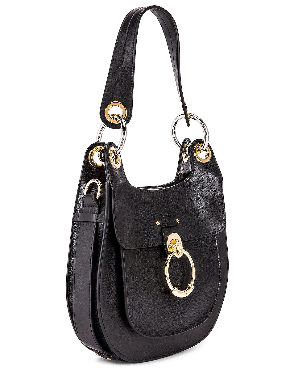 Image 4 of Chloe Small Tess Leather Hobo Bag in Black