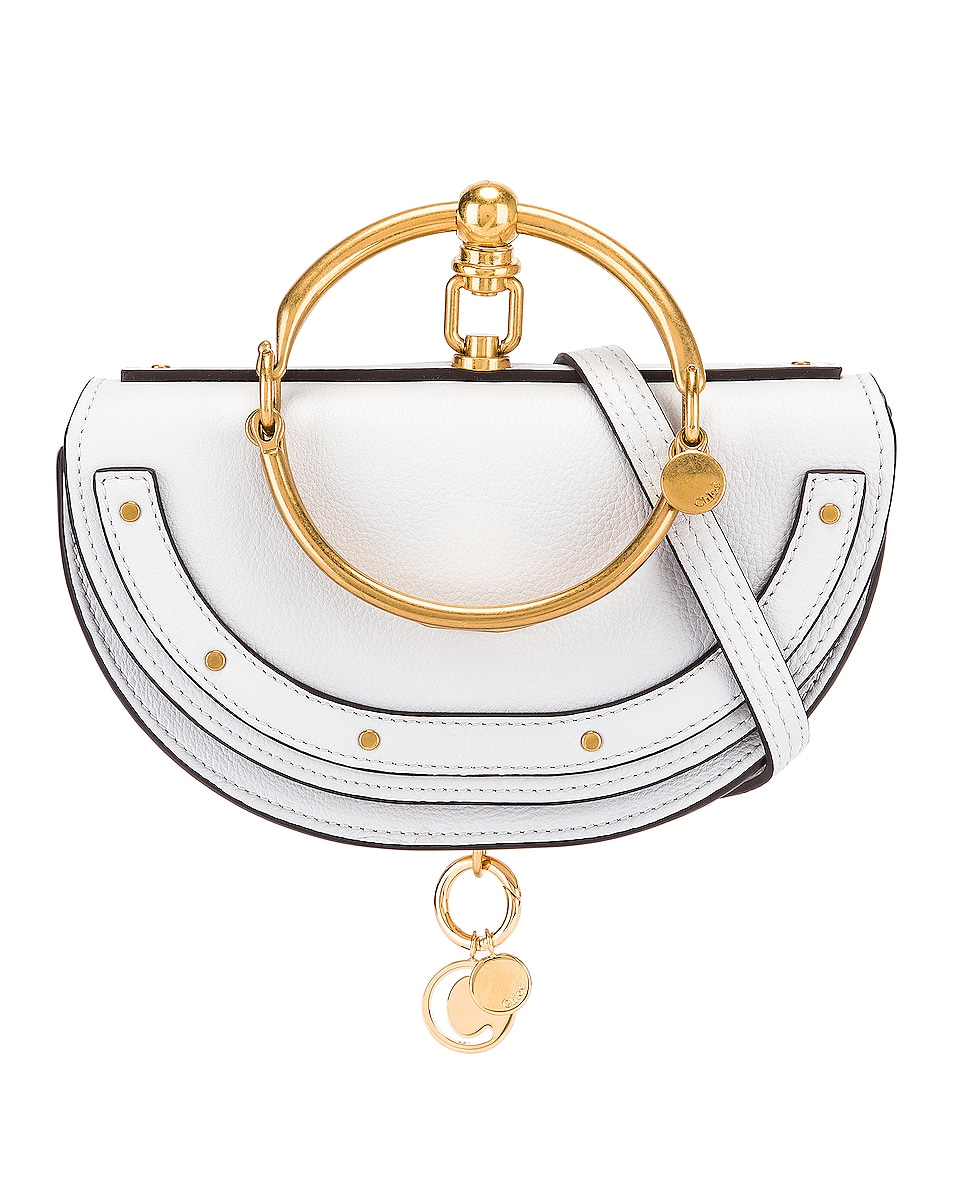 Image 1 of Chloe Small Nile Leather Minaudiere in Light Cloud