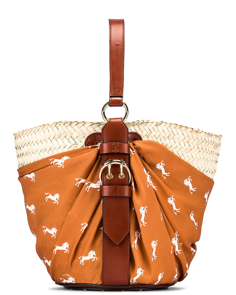 Image 1 of Chloe Medium Panier Basket Bag in Brown & White