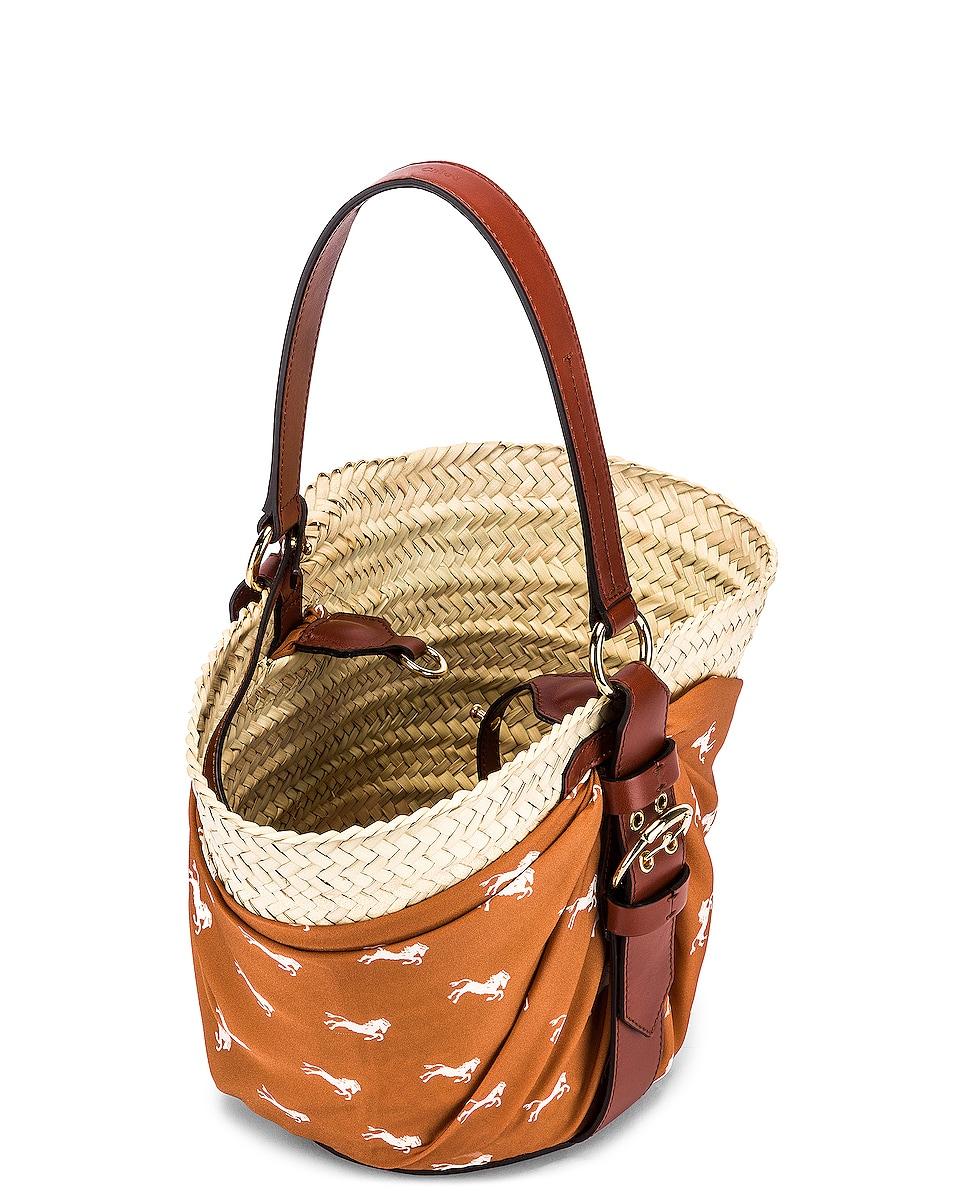 Image 4 of Chloe Medium Panier Basket Bag in Brown & White