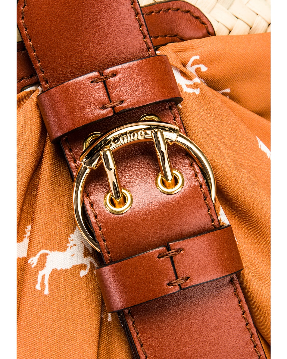Image 7 of Chloe Medium Panier Basket Bag in Brown & White