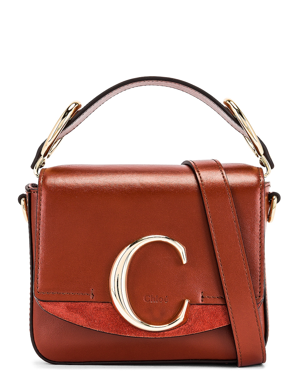 Image 1 of Chloe Mini C Box Bag in Sepia Brown