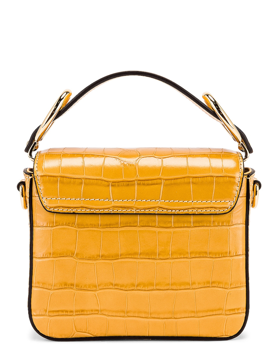 Image 3 of Chloe Mini C Embossed Croc Box Bag in Honey Gold