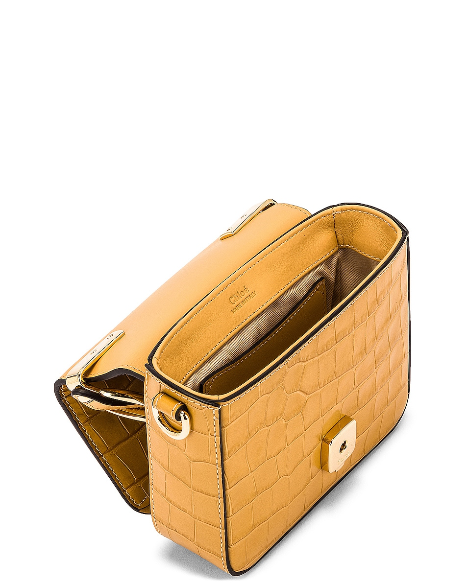 Image 5 of Chloe Mini C Embossed Croc Box Bag in Honey Gold