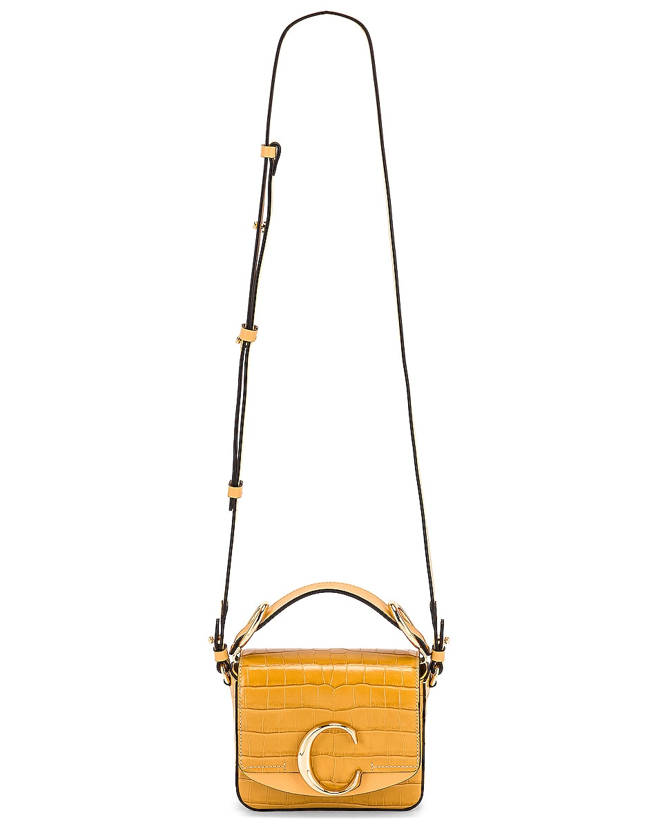 Image 6 of Chloe Mini C Embossed Croc Box Bag in Honey Gold