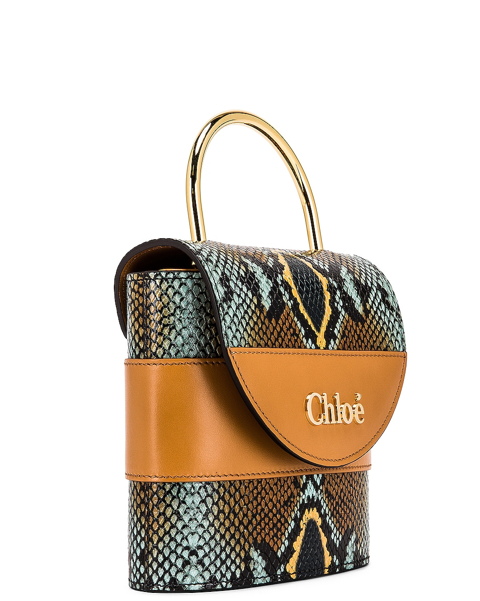 Image 4 of Chloe Abylock Embossed Croc Crossbody Bag in Faded Blue