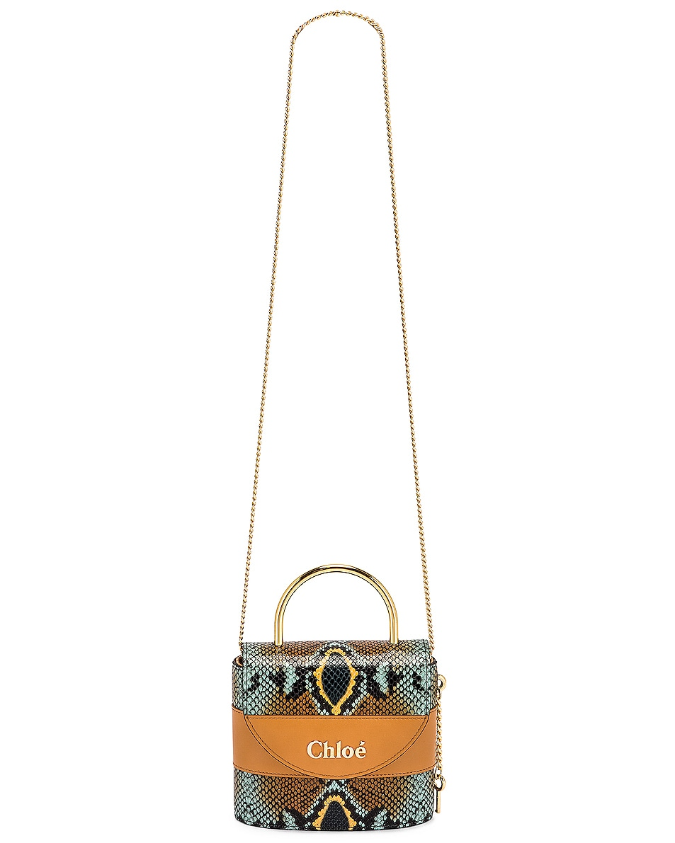 Image 6 of Chloe Abylock Embossed Croc Crossbody Bag in Faded Blue