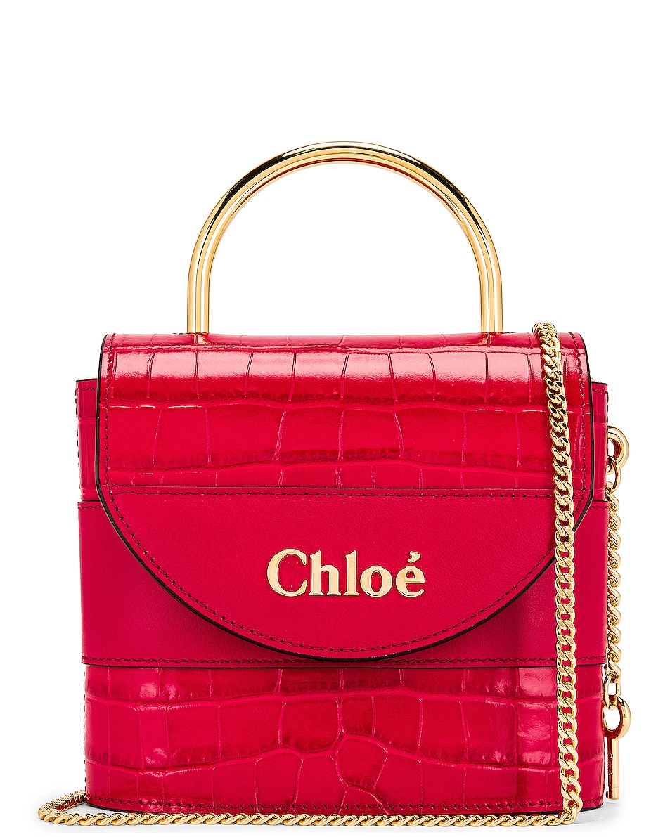 Image 1 of Chloe Small Abylock Embossed Croc Padlock Bag in Crimson Pink