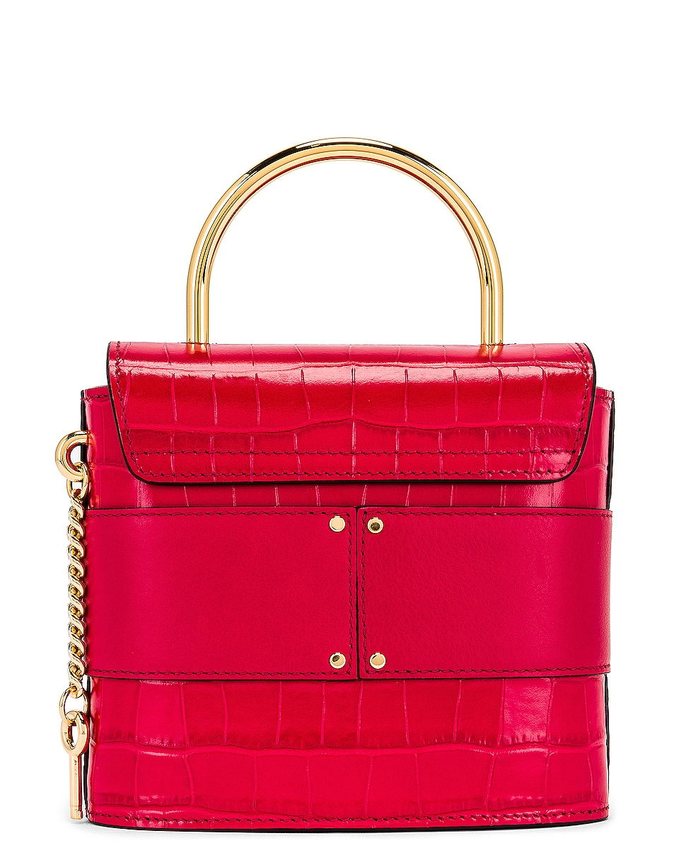 Image 3 of Chloe Small Abylock Embossed Croc Padlock Bag in Crimson Pink