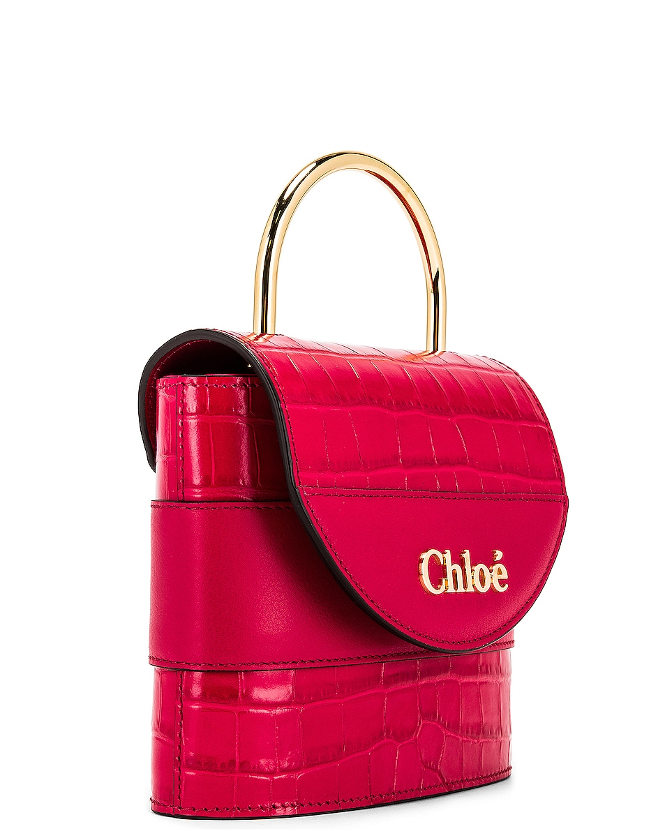 Image 4 of Chloe Small Abylock Embossed Croc Padlock Bag in Crimson Pink