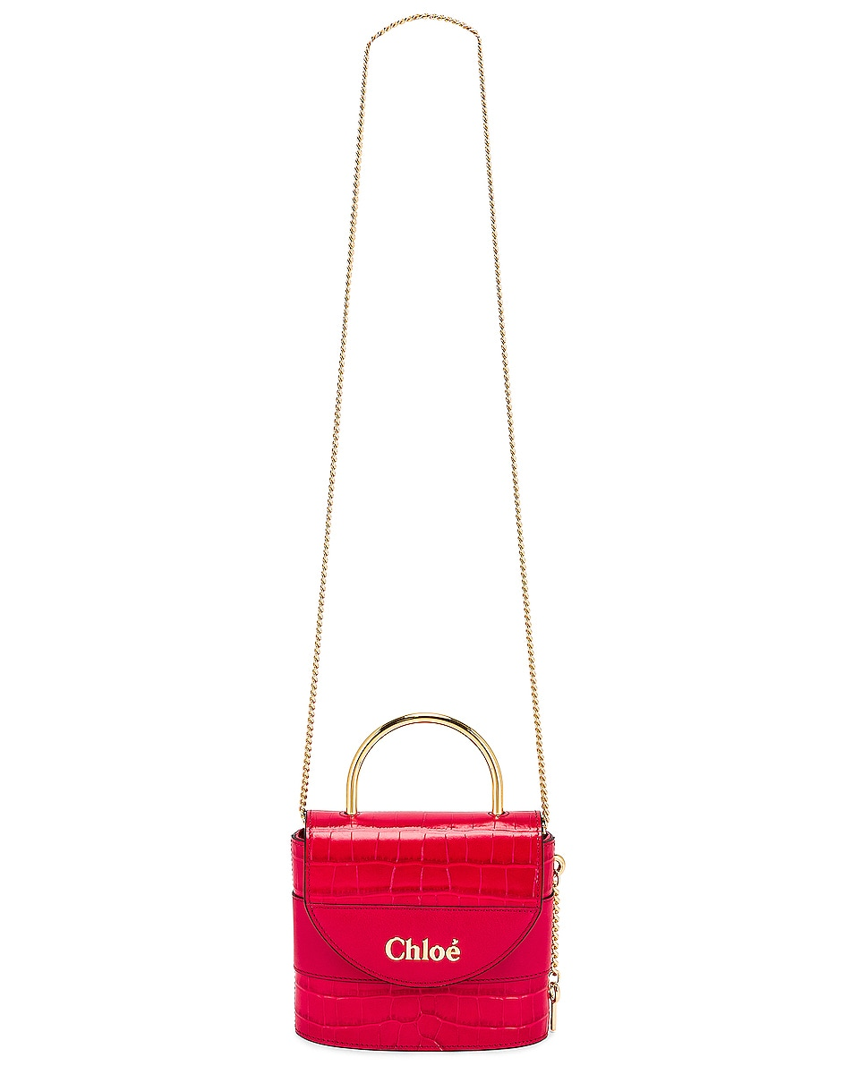 Image 6 of Chloe Small Abylock Embossed Croc Padlock Bag in Crimson Pink