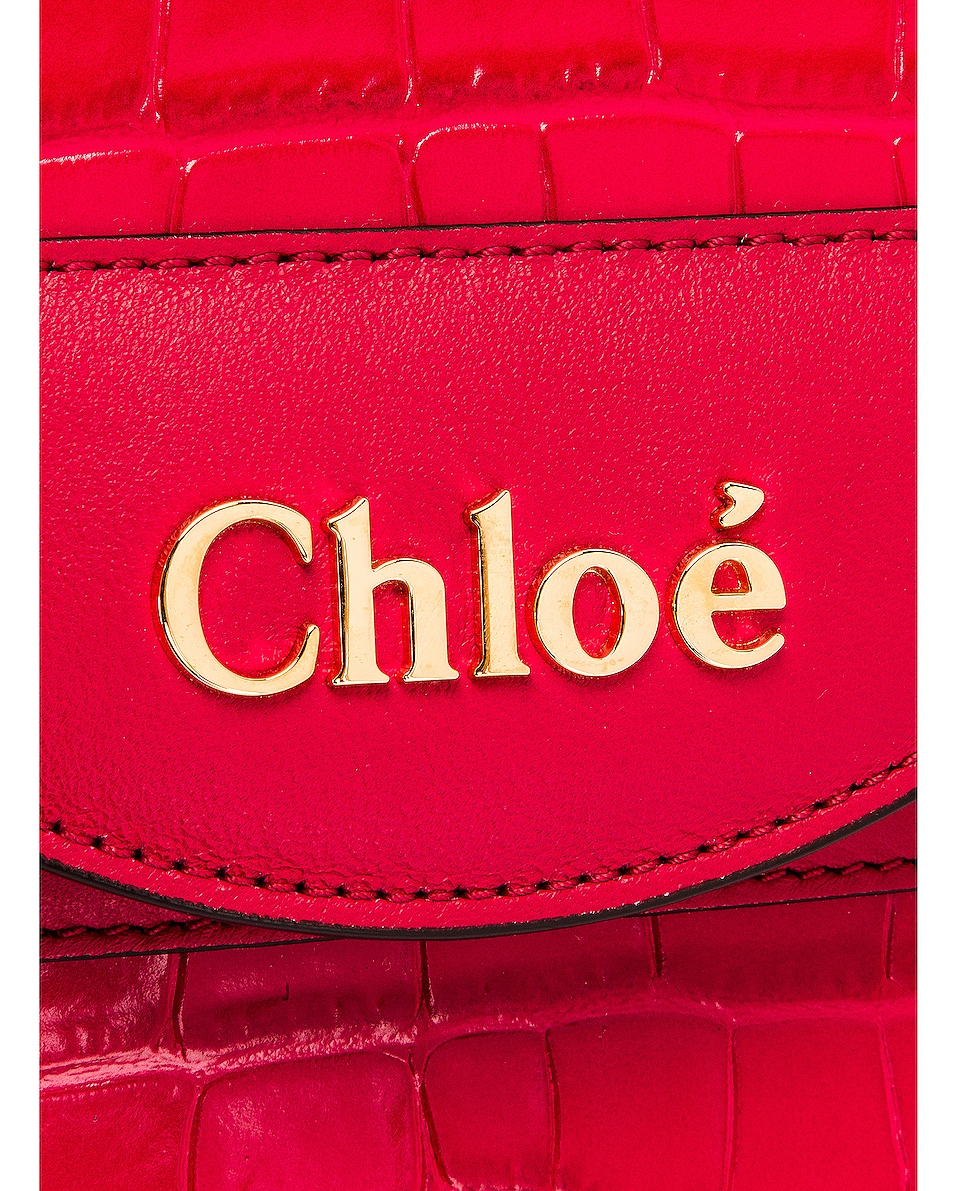 Image 8 of Chloe Small Abylock Embossed Croc Padlock Bag in Crimson Pink