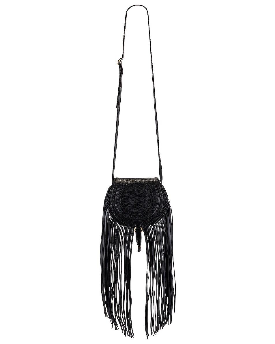 Image 1 of Chloe Small Marcie Fringe Saddle Bag in Black