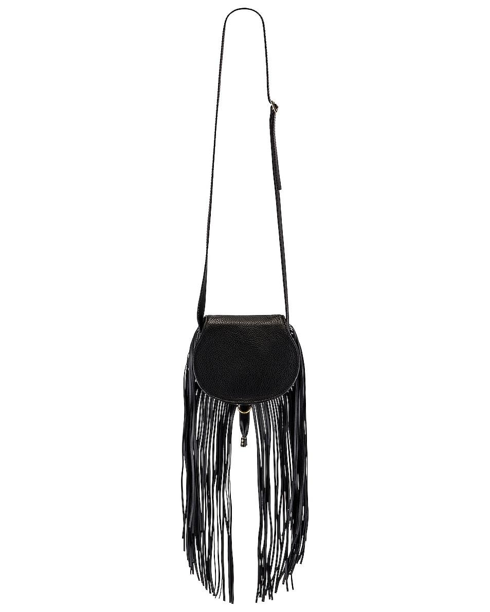 Image 3 of Chloe Small Marcie Fringe Saddle Bag in Black