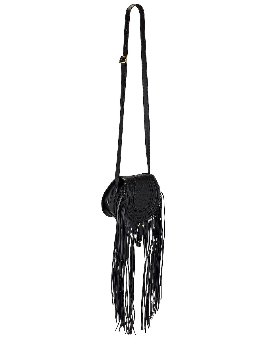 Image 4 of Chloe Small Marcie Fringe Saddle Bag in Black