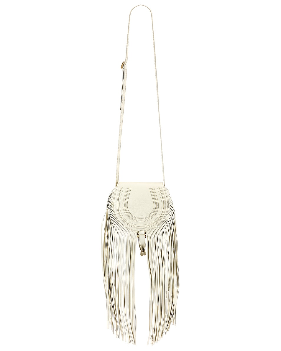 Image 1 of Chloe Small Marcie Fringe Saddle Bag in Natural White
