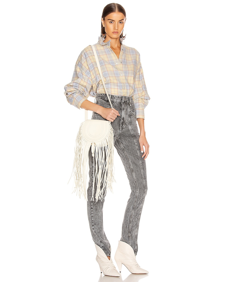 Image 2 of Chloe Small Marcie Fringe Saddle Bag in Natural White