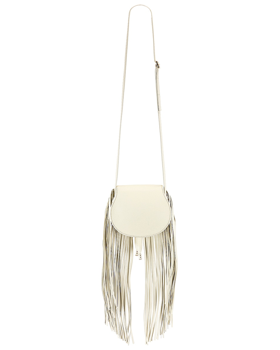 Image 3 of Chloe Small Marcie Fringe Saddle Bag in Natural White