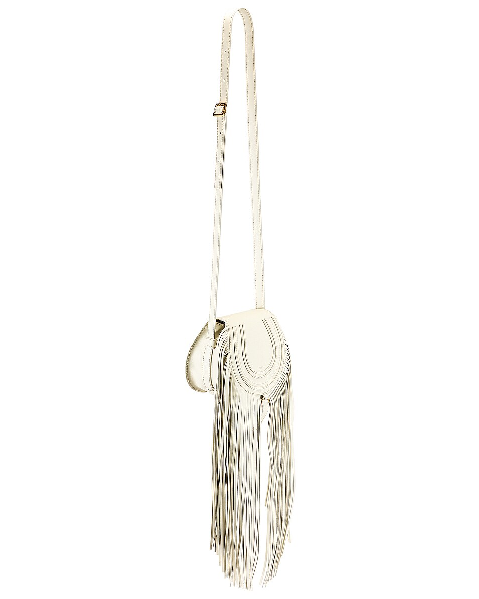 Image 4 of Chloe Small Marcie Fringe Saddle Bag in Natural White