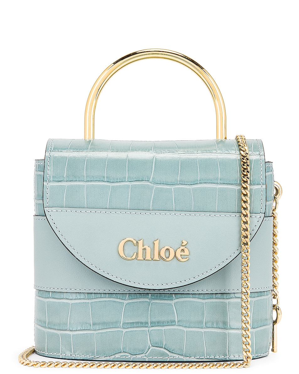 Image 1 of Chloe Small Abylock Embossed Croc Padlock Bag in Faded Blue