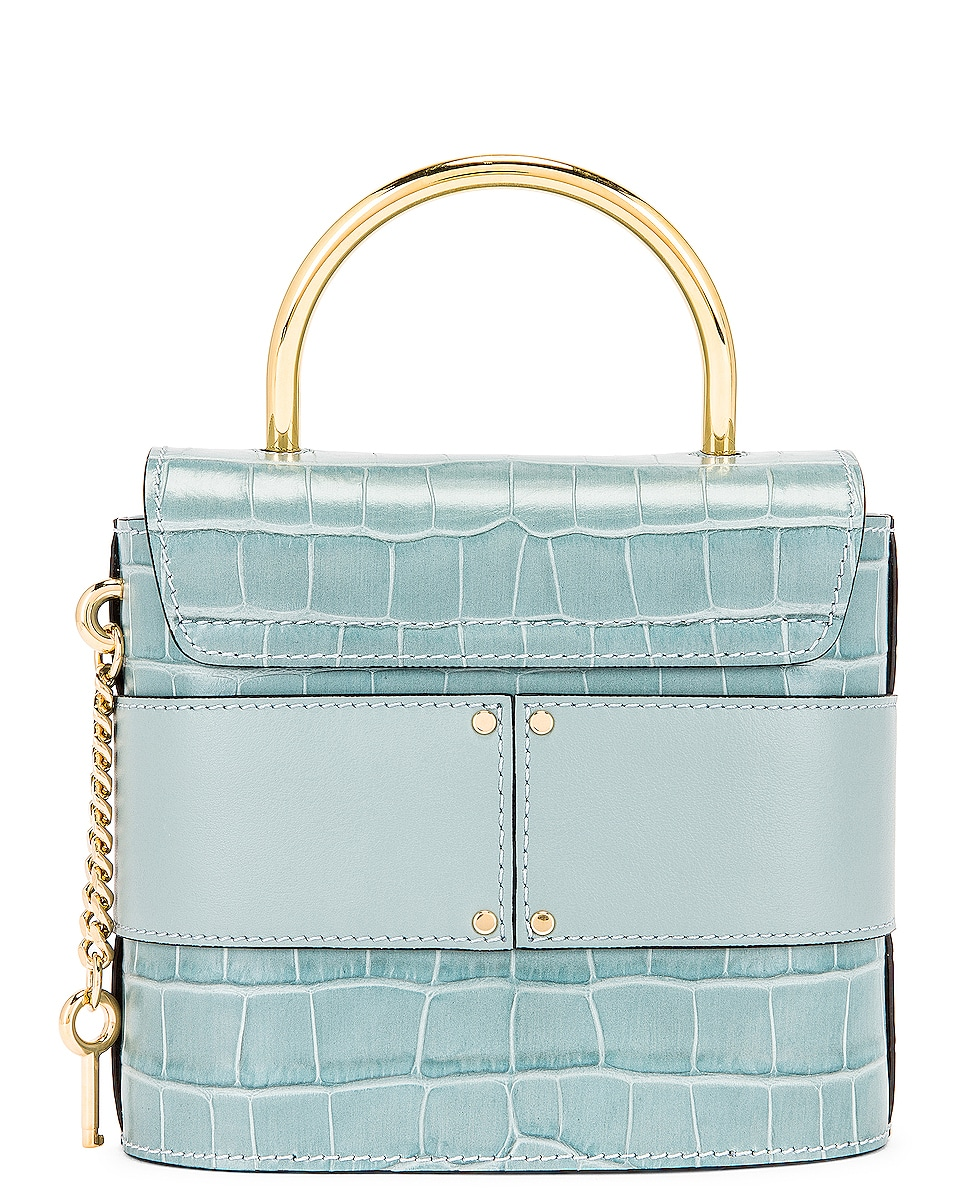 Image 3 of Chloe Small Abylock Embossed Croc Padlock Bag in Faded Blue