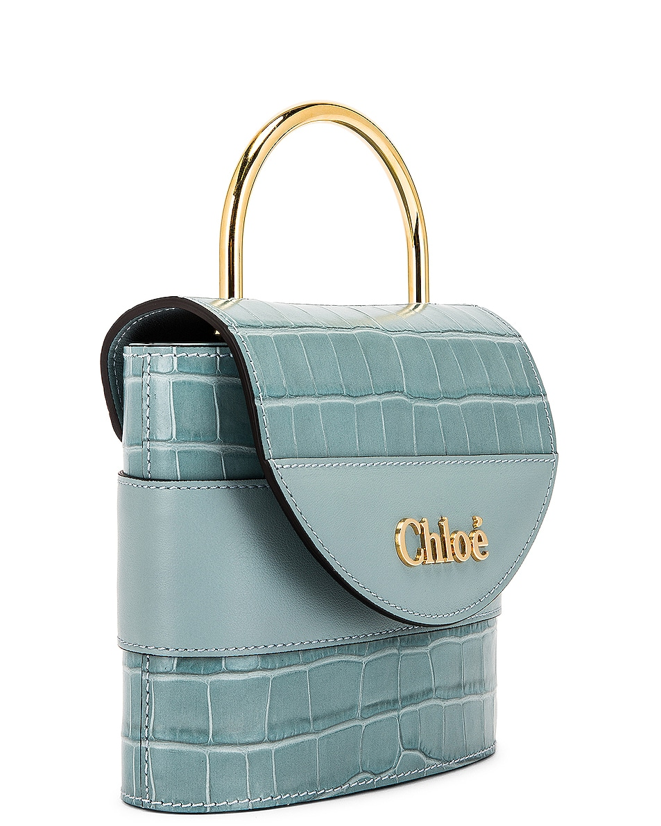 Image 4 of Chloe Small Abylock Embossed Croc Padlock Bag in Faded Blue