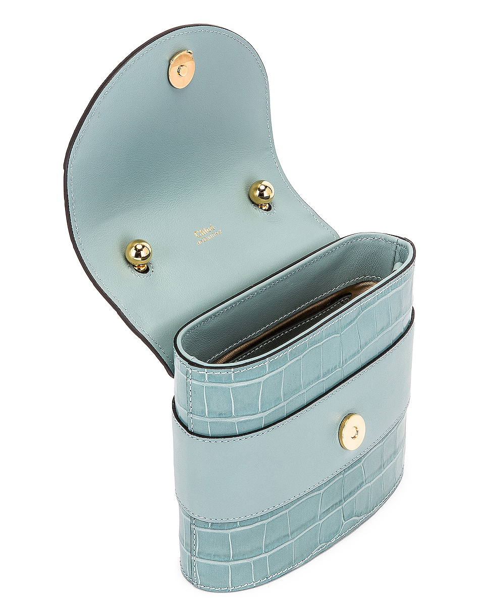 Image 5 of Chloe Small Abylock Embossed Croc Padlock Bag in Faded Blue