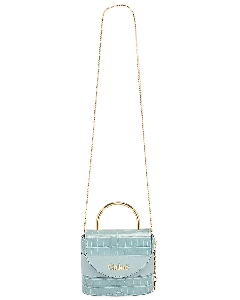 Image 6 of Chloe Small Abylock Embossed Croc Padlock Bag in Faded Blue