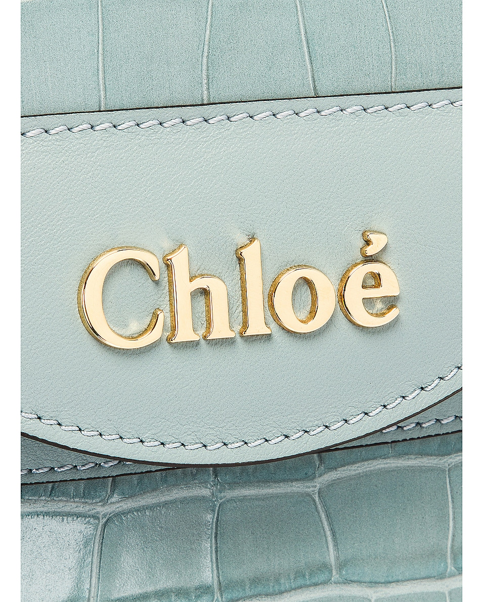 Image 8 of Chloe Small Abylock Embossed Croc Padlock Bag in Faded Blue