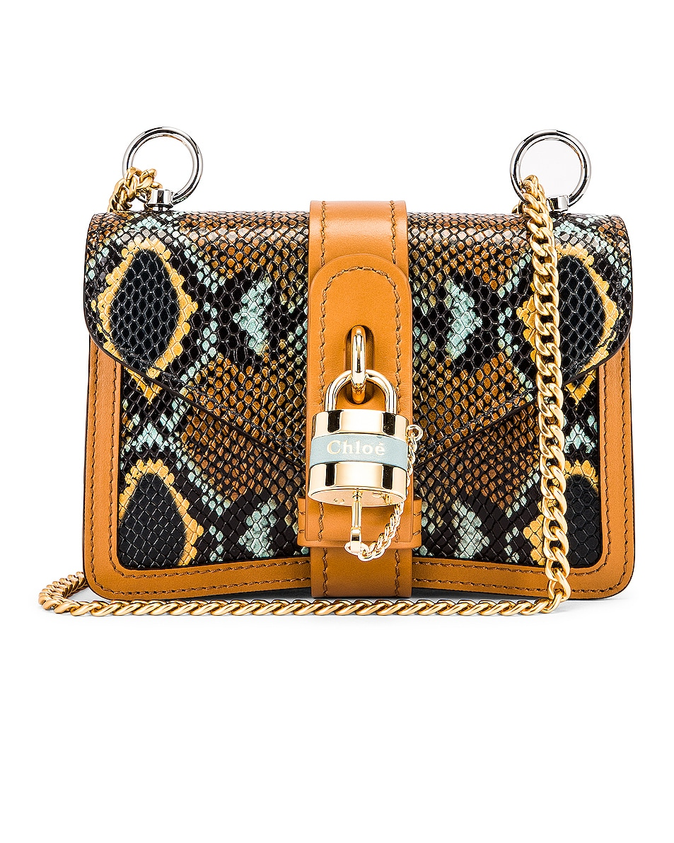 Image 1 of Chloe Mini Aby Chain Embossed Python Shoulder Bag in Faded Blue