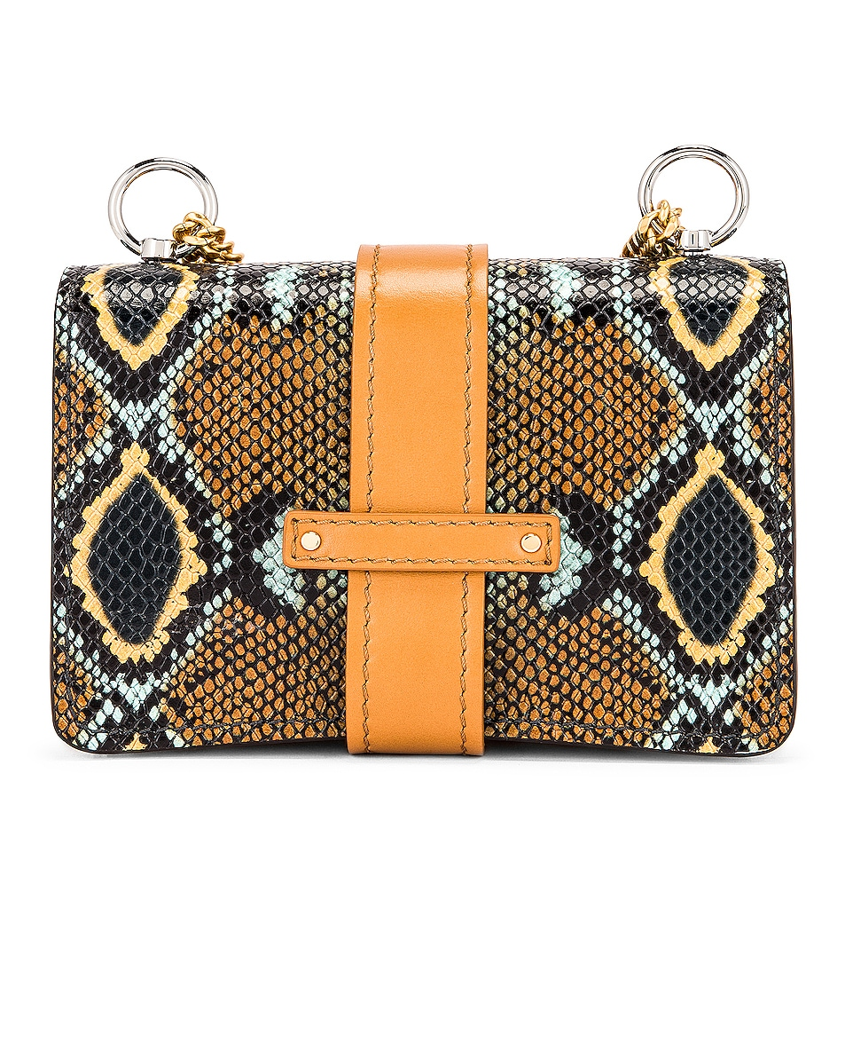 Image 3 of Chloe Mini Aby Chain Embossed Python Shoulder Bag in Faded Blue
