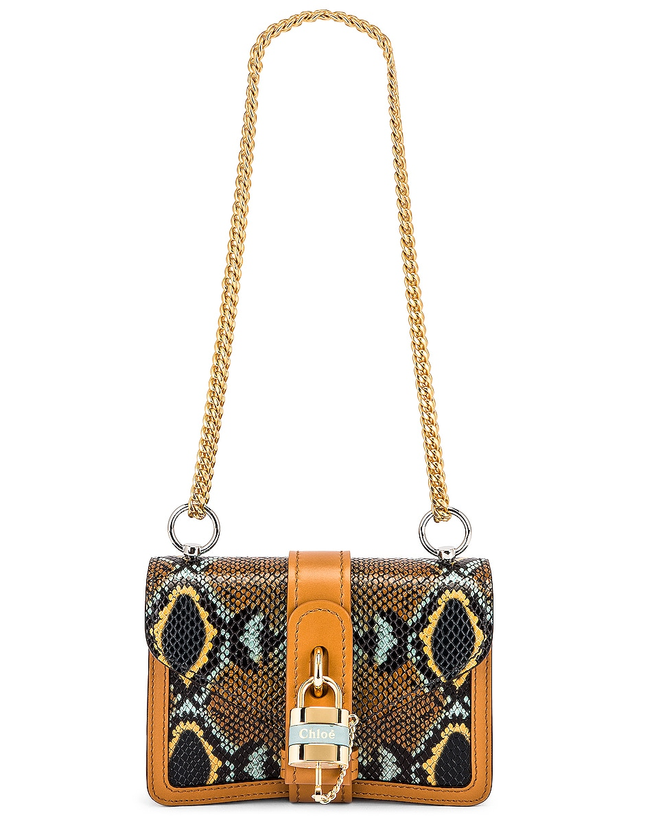 Image 6 of Chloe Mini Aby Chain Embossed Python Shoulder Bag in Faded Blue