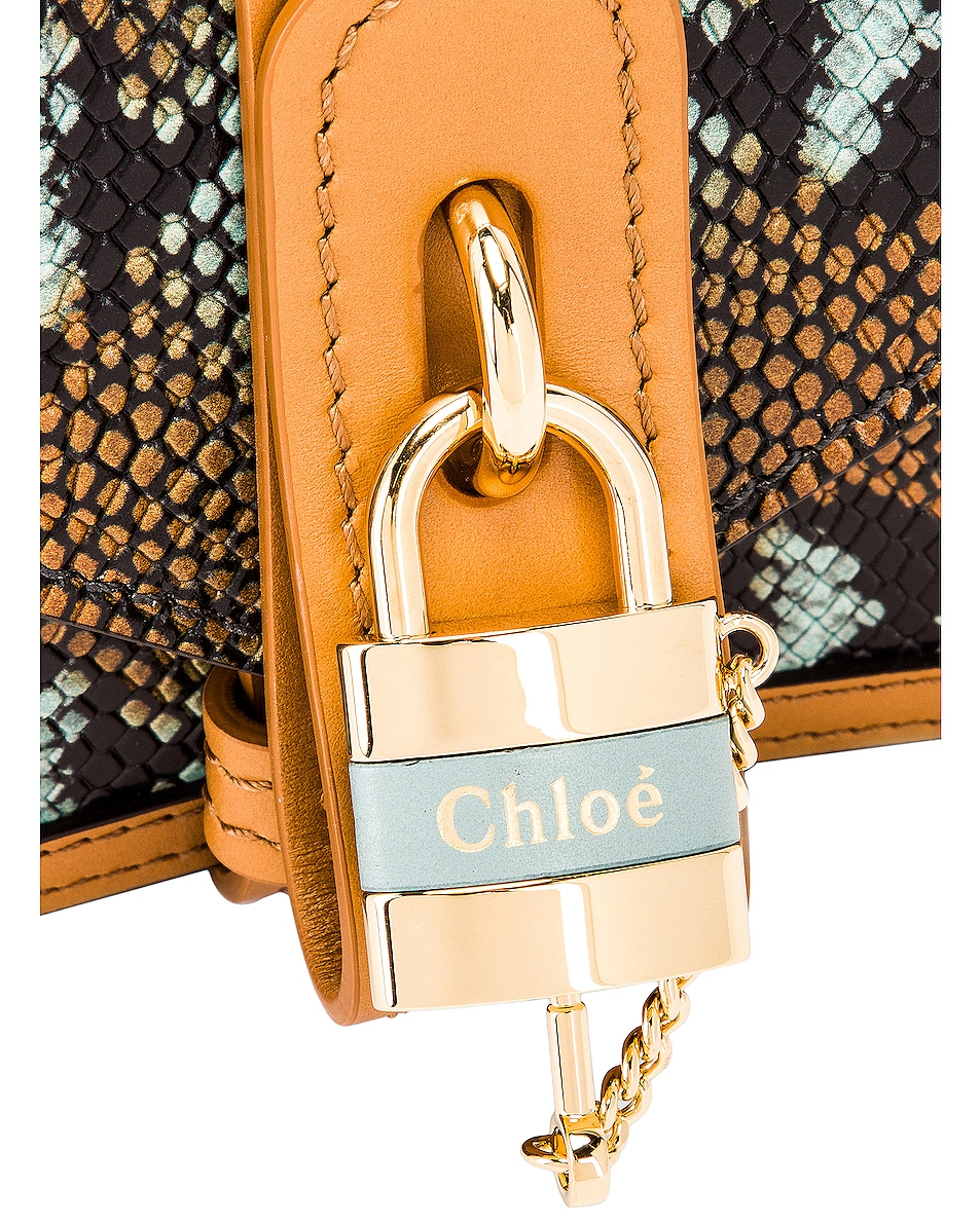 Image 8 of Chloe Mini Aby Chain Embossed Python Shoulder Bag in Faded Blue