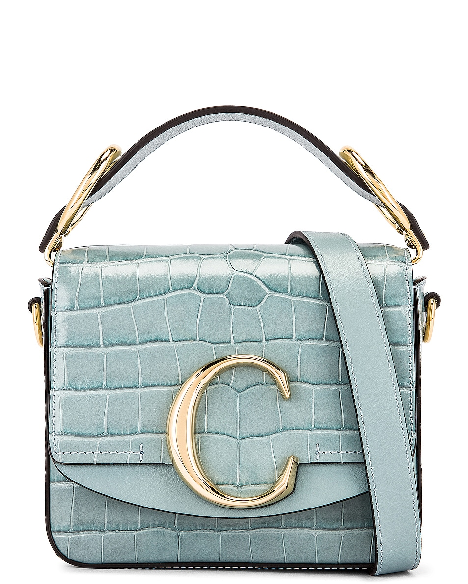 Image 1 of Chloe Mini C Embossed Croc Box Bag in Faded Blue