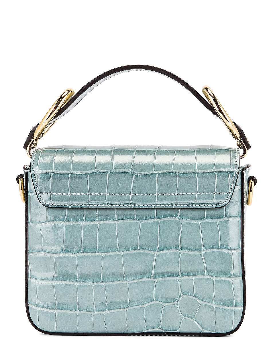 Image 3 of Chloe Mini C Embossed Croc Box Bag in Faded Blue
