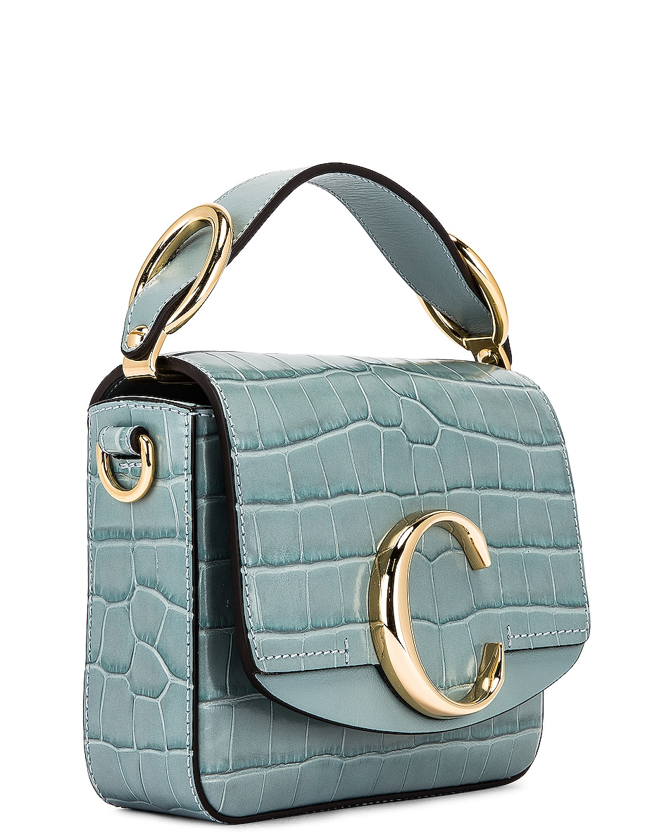 Image 4 of Chloe Mini C Embossed Croc Box Bag in Faded Blue