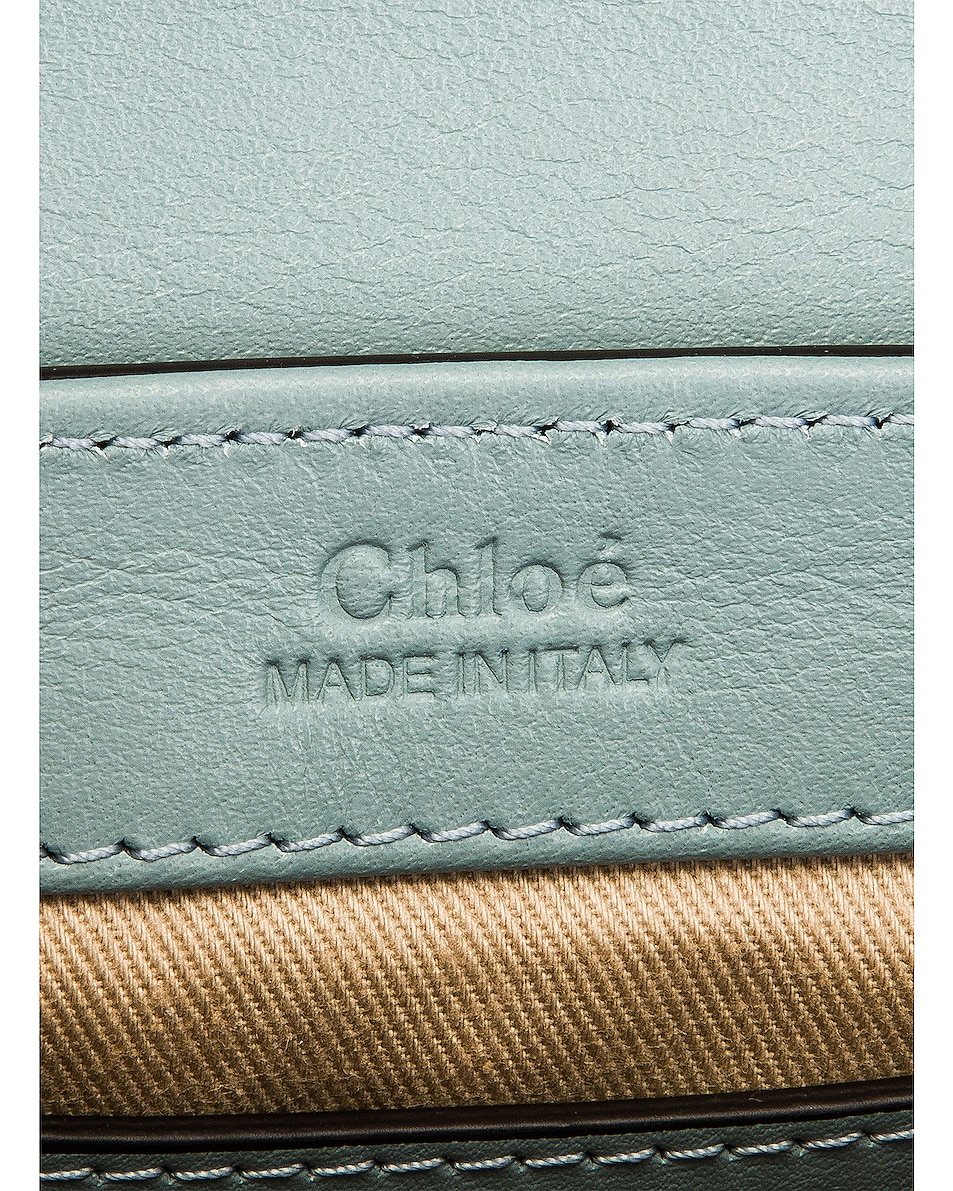 Image 7 of Chloe Mini C Embossed Croc Box Bag in Faded Blue