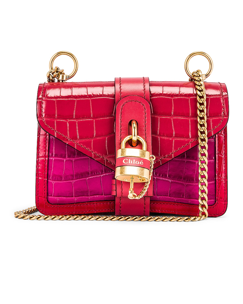 Image 1 of Chloe Mini Aby Chain Tricolor Embossed Croc Shoulder Bag in Graphic Pink