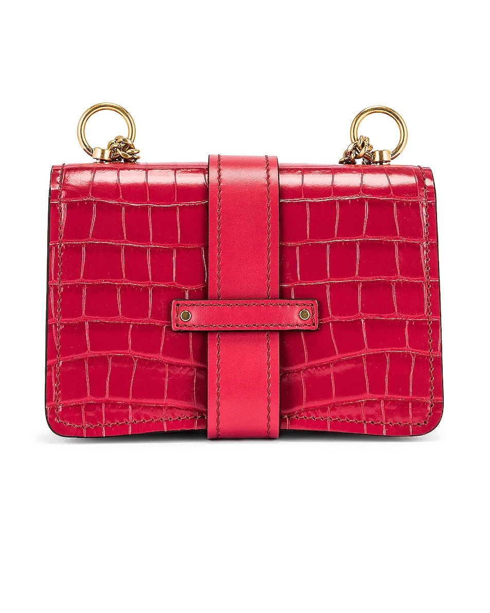 Image 3 of Chloe Mini Aby Chain Tricolor Embossed Croc Shoulder Bag in Graphic Pink