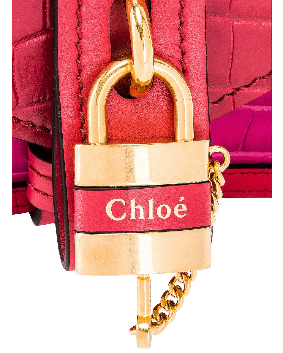 Image 8 of Chloe Mini Aby Chain Tricolor Embossed Croc Shoulder Bag in Graphic Pink