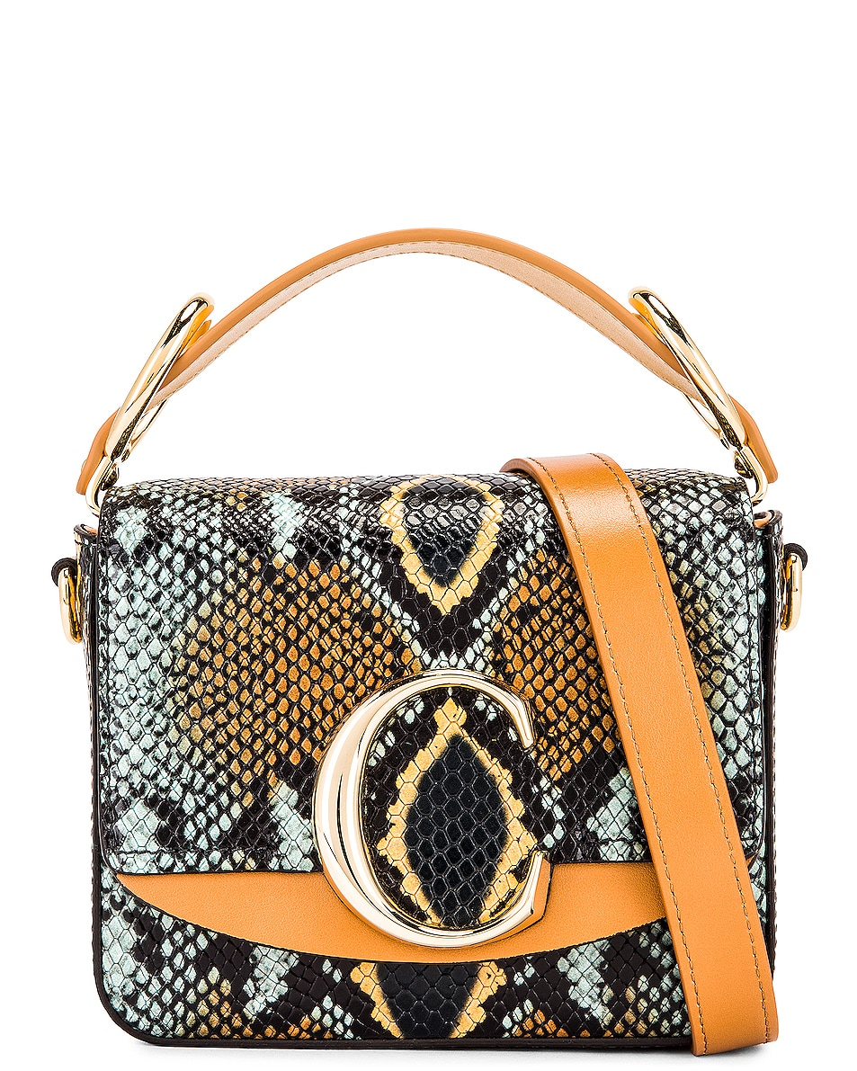 Image 1 of Chloe Mini C Embossed Python Box Bag in Faded Blue