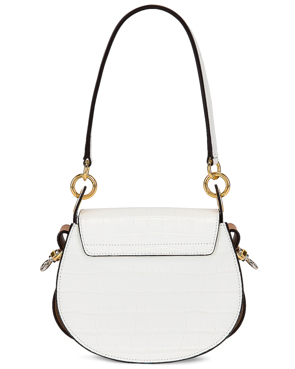 Image 3 of Chloe Small Tess Embossed Croc Shoulder Bag in Brilliant White