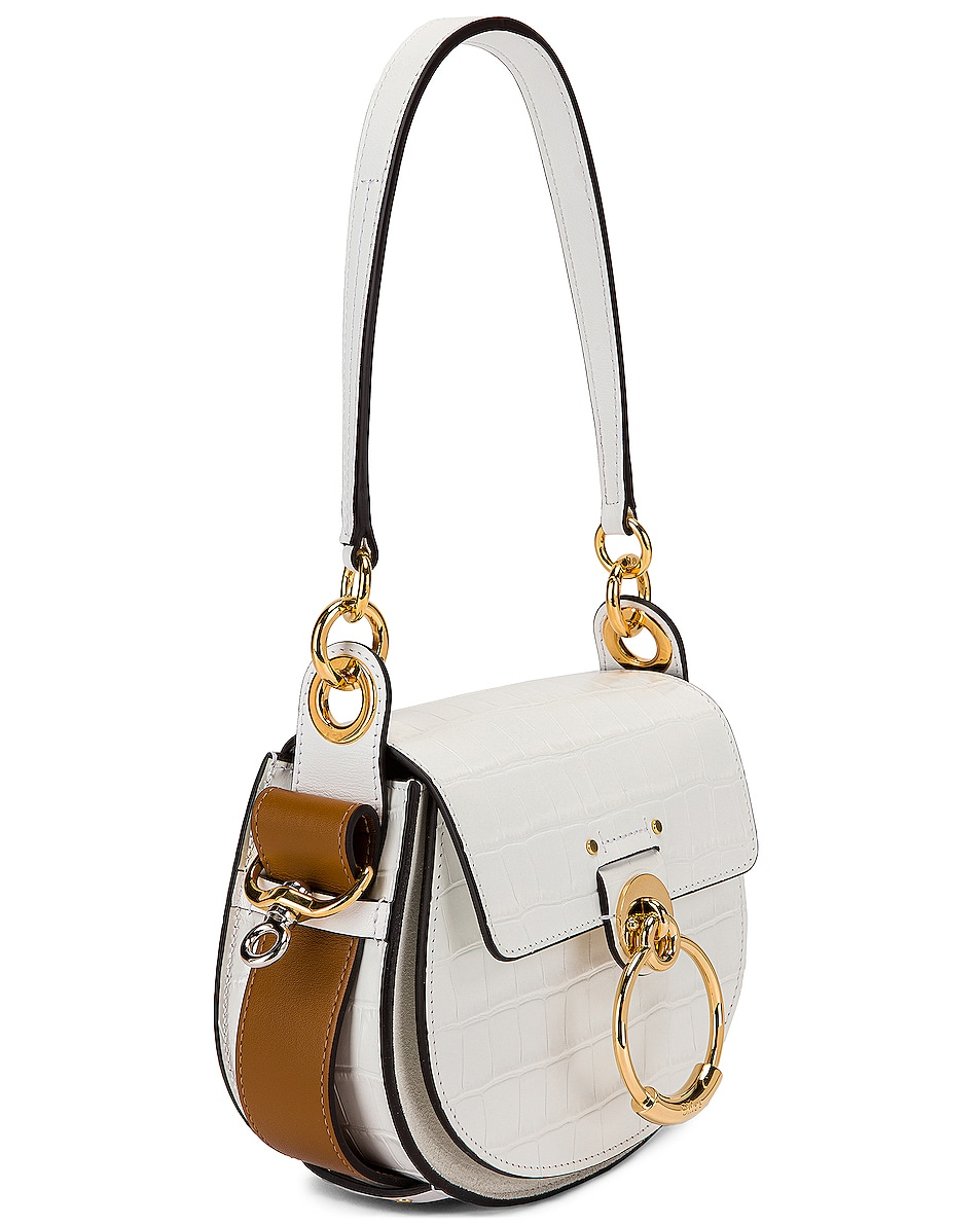 Image 4 of Chloe Small Tess Embossed Croc Shoulder Bag in Brilliant White