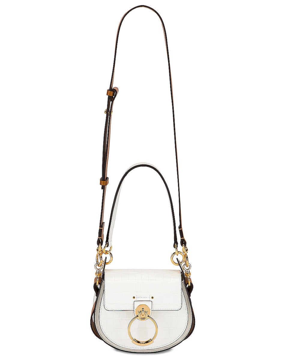 Image 6 of Chloe Small Tess Embossed Croc Shoulder Bag in Brilliant White